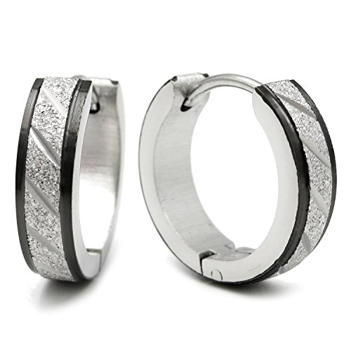 yellow gold stainless steel high polished grey stripes huggie SINGLE earring
